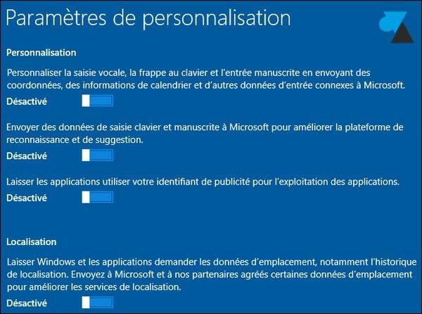 Paramètres Windows 10