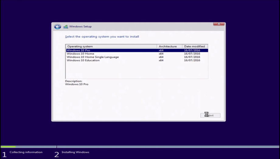 installation depuis un disque dur vierge ou formaté de Windows 10